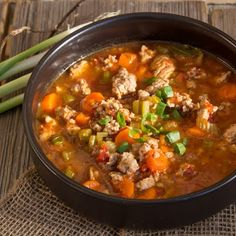 Italian Turkey Burger Soup ~ I added half a red bell pepper, peas, green beans and a cup chopped mushrooms. I used 2 cups fresh chopped tomatoes instead of canned and the paste. A bit of fresh ginger and a tiny sprinkle of crushed red pepper. Eat with corn chips and cheese. So delicious!!!