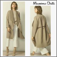 【MassimoDutti】大きめカラーのガウン風コート!ウール&カシミヤ