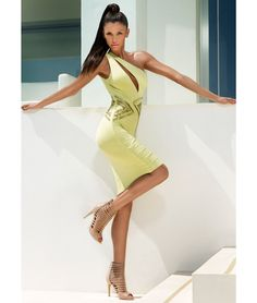 4fba8e950b Lime one shoulder bandage dress with directional panelling
