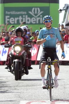 Astana Pro Team's Colombian cyclist Miguel Angel Lopez Moreno celebrates as he crosses the finish line winning the 15th stage of the 72nd edition of...