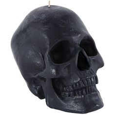 Skull Candle In Black ($44) ❤ liked on Polyvore featuring home, home decor, candles & candleholders, fillers, candles, decor, black, magazine, skull candle and skull home decor