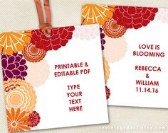 Printable Floral Gift Tags // Autumn Burgandy by RevintagedArt