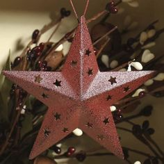 Rustic Red Tin Star Ornament
