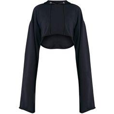 Daniela Lemon Extreme Longsleeve Hoodie ($26) ❤ liked on Polyvore featuring tops, hoodies, white long sleeve top, cropped hooded sweatshirt, long sleeve crop top, white hoodies and white hoodie