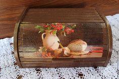 """Купить Хлебница деревянная """"Ароматный хлеб"""" - коричневый, хлебница, уютная кухня, золотой цвет"""