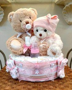Teddy Bear Diaper Cake Bear Diaper cake girl diaper cake in