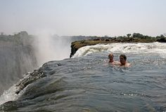 Would you swim on the edge of Victoria Falls?