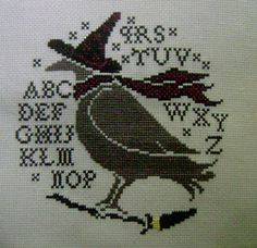 Blackbird Designs Cross Stitch Freebies | Blackbird-Designs-Crow-with-Witch-Hat-Completed-Cross-Stitch-Halloween ...