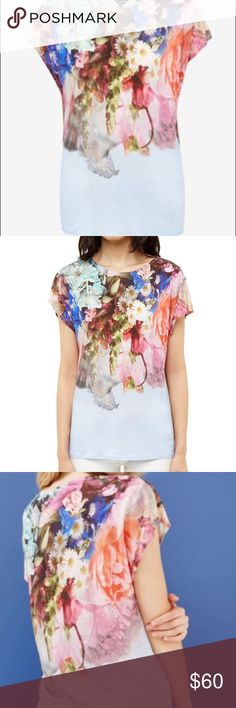 Ted Baker Focus Bouquet Tee Ted Baker womenswear collection Focus Bouquet print Cap sleeved Round neck. *Size 2, please see chart in photos. Ted Baker London Tops Tees - Short Sleeve