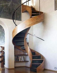 Spiral wooden stairs. Compact. Space saver