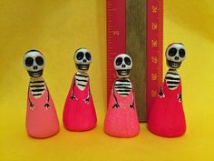4 PINK Dia De Los Muertos Day of the Dead Girl Skeleton Small Clay Figurines