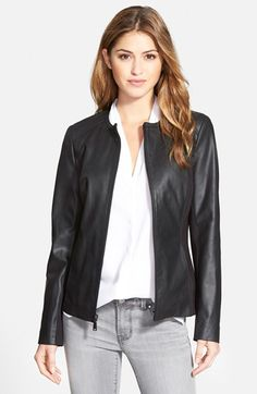 T Tahari 'Lucia' Collarless Leather & Ponte Jacket (Online Only) available at #Nordstrom
