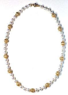Pearl and Gold Bead Necklace, Janet Deleuse www.deleuse.com free shipping