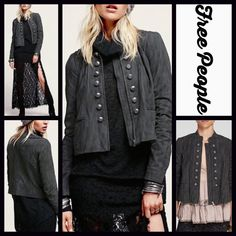 """FREE People Vegan Suede Leather Jacket RETAIL PRICE: $198  NEW WITH TAGS   FREE PEOPLE Vegan Suede Jacket  * 2 Front pockets, silver military buttons, & zip closure * Incredibly soft faux suede leather * Long sleeves.   * About 23"""" long * Tagged size 12(L), will approx fit sizes 10-12 ***Amazing! A must for all Free People collections.  Fabric:58% Rayon & 42% PCU. Fully lined 100% rayon  Color:Grey-charcoal (washed black look)  No Trades ✅ Offers Considered*/Bundle Discounts✅ *Please use the…"""
