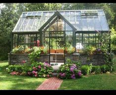 Great addition to your backyard to Thanks Think Green for sharing. Traditional Landscape/Yard with Greenhouse, Brick pathway, Partial stone exterior, Custom Green House Diy Greenhouse Plans, Backyard Greenhouse, Small Greenhouse, Greenhouse Wedding, Portable Greenhouse, Homemade Greenhouse, Greenhouse Heaters, Winter Greenhouse, Greenhouse Panels