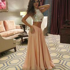 Pretty Two Piece Prom Dresses,Light Pink Chiffon Evening Gowns,Open Back Prom Dresses,Formal Gowns,Long Prom Dresses