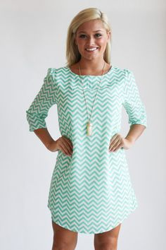 mint chevron shift dress