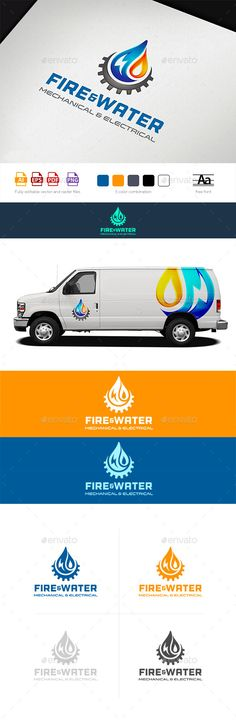 Water Fire Electro HVAC Logo Tamplate — Photoshop PSD #water #white • Available here → https://graphicriver.net/item/water-fire-electro-hvac-logo-tamplate/12470000?ref=pxcr
