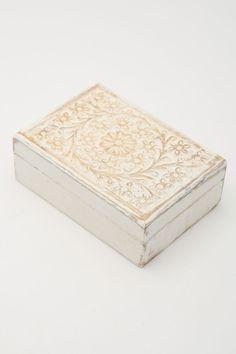 Whitewash Carved Box