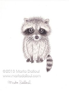 """Cute Baby Racoon Original Watercolor Art 4.5"""" x 6"""" by 'MartaDalloul' $39.00 on ETSY<3<3ADORABLE<3<3"""