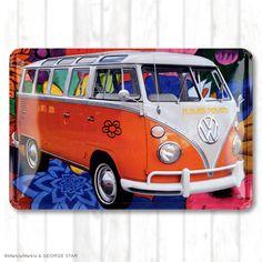 ブリキ看板 VW BUS TYPE2 Hippie