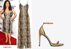 Shop Celebrity Closet: Salma Hayek's Saint Laurent tiger print dress & sandal - http://www.becauseiamfabulous.com/2016/06/22/shop-celebrity-closet-salma-hayeks-saint-laurent-tiger-print-dress-sandal/