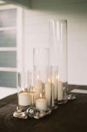 flowerless centerpiece. Candles Seashell Centerpiece