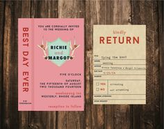 Wes Anderson Styled Library Wedding Invitation by blacklabstudio