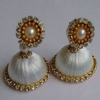 Jewellery | Silk Thread | White Jhumka - Small | CardsNCrafts