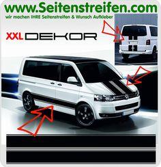 """VW Bus T4 T5 XXL Aufkleber Dekor Komplett Set """"ohne Text"""" - Art.Nr.: 9047"""