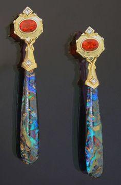 ATHENAE - 22k opal gold & diamond earrings