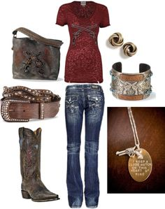 A fashion look from August 2012 featuring Miss Me jeans and Dan Post boots. Browse and shop related looks. Country Look, Country Wear, Country Girl Style, Country Fashion, Country Girls, My Style, Country Chic, Country Girl Outfits, Cowgirl Outfits