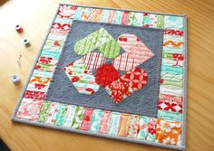 Hope's Quilt Designs: Heart Spin Mini Quilt - A New Pattern