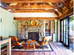 Tiny cottage, Colorado cottage, stone cottage, remodel, wood beams, loft, one room house, stone fireplace, Eames chairs, green cabinets, sliding doors, wide-plank floors ARCHITECTURE & INTERIOR DESIGN by TKP Architects PHOTO by Emily Minton Redfield MORE INFO at:  http://www.mountainliving.com/article/450-square-foot-cottage#