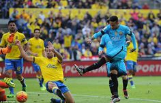 Brazil international Neymar (right) rifles home a rebounded shot to put Barca 2-1 in front against Las Palmas in La Liga