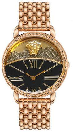 Versace Rose Golden Dualdial Watch in Gold $1595