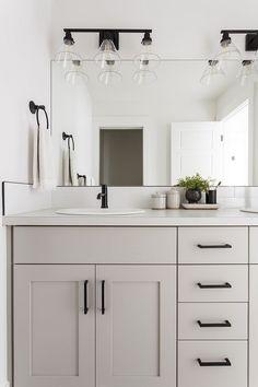 Grey Bathroom Cabinets, Light Gray Cabinets, Bathroom Renos, Quartz Bathroom Countertops, Remodel Bathroom, Cosy Bathroom, Grey Bathroom Vanity, Ikea Bathroom, Bathroom Fixtures