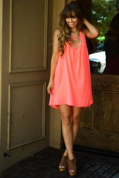View From Here Dress: Neon Coral #shophopes Passion For Fashion, Latest Trends, Coral, Neon, Boutique, Summer Dresses, Clothes For Women, Chic, How To Wear