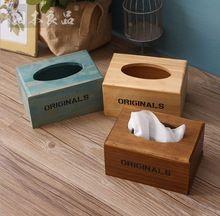 Zakka grocery tissue box customized restaurant carton tissue box wooden crafts Home Furnishing display box(China (Mainland))