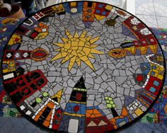 "Mosaic Art Diverse City Series piece by ringmosaics on EtsyHouse mosaics on stairs create streets!""Around the Town"" - as I call it - mosaic - Salvabrani Mosaic Art Projects, Mosaic Crafts, Mosaic Madness, Stained Glass Art, Mosaic Glass, Mosaic Furniture, Mosaic Stepping Stones, Mosaic Birds, Mosaic Artwork"