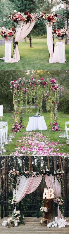 stunning outdoor floral and fabric wedding altar and arch ideas. I'd rather go with all Fall decor, flowers, pumpkins, hay bales.