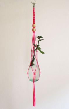 Small macrame plant hanger - neon pink via Etsy