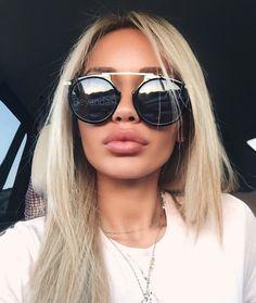 lip injections Carmen Noir sunglasses via beyandall Botox Fillers, Dermal Fillers, Lip Fillers, Botox Lips, Best Lace Wigs, Aesthetic Dermatology, Eye Makeup, Contour Makeup, Lip Shapes