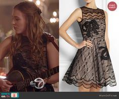 Maddie's black scalloped lace dress on Nashville.  Outfit Details: http://wornontv.net/42096/ #Nashville