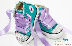 Infant, Toddler High Top Baby Girl Aqua Turquoise Converse All Star Chuck Taylor's With Purple Ribbon Laces & Swarovski Crystal Rhinestones   Urban Baby Co.