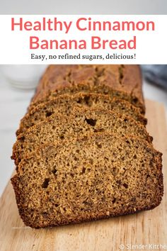 The best healthy banana bread without any refined sugars! Tons of banana flavor and cinnamon for a healthy banana bread everyone loves. Perfect for breakfast or snack, this healthy recipe from Slender Kitchen is MyWW SmartPoints compliant and vegetarian. Easy Bread Recipes, Vegan Recipes Easy, Baking Recipes, Real Food Recipes, Cake Recipes, Snack Recipes, Ww Recipes, Breakfast Recipes, Vegetarian Recipes
