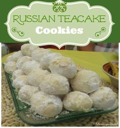 Russian Teacakes Cookies Recipe (Mexican Wedding Cakes, Swedish Tea Cakes, Snowballs or Butterball Cookies) use the link to the lemon balls too Tea Cake Cookie Recipe, Tea Cake Cookies, Yummy Cookies, Cookie Tray, Bar Cookies, Cookie Table, Buttery Cookies, Cookie Cutters, Cupcakes