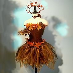 Adult Fairy Costume - The SONGBIRD FAERIE - woodland fairy in shades of Bronze - corset size 36 - 38 - 40