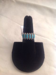 Zuni turquoise and sterling silver hand crafted ring 7.75