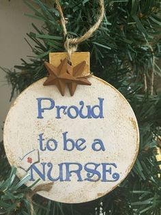 Proud to be a Nurse-4 by 4 wood christmas ornaments by Lollysporch